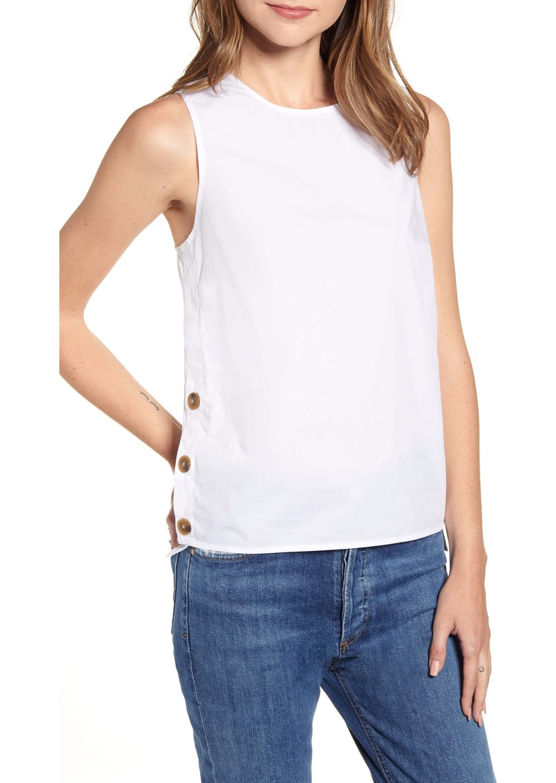 J.Crew Button Detail Cotton Poplin Top
