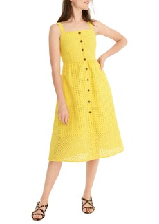 J.Crew Button Front Eyelet Midi Sundress