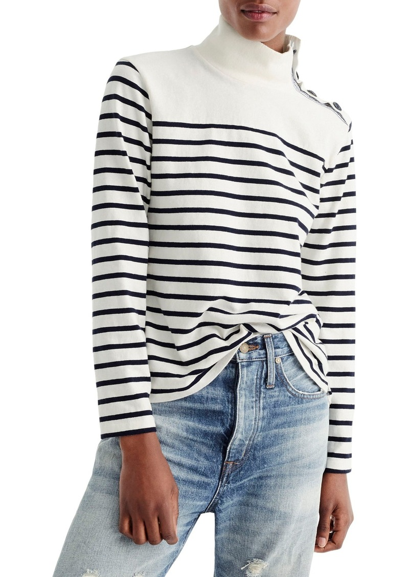 J crew j crew button mock neck top casual shirts for Mock crew neck shirts