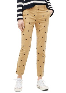 J.Crew Cameron Paint Embroidered Satin Chinos