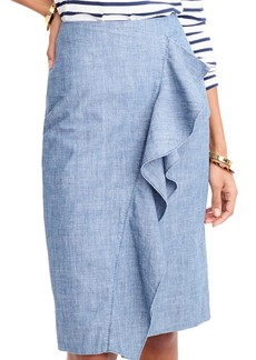 J.Crew Carly Chambray Ruffle Skirt