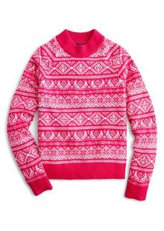 J.Crew Cheerful Fair Isle Mock Neck Sweater