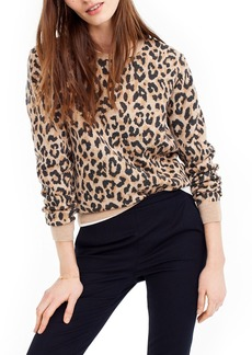 J.Crew Cheetah Print Merino Wool Sweatshirt