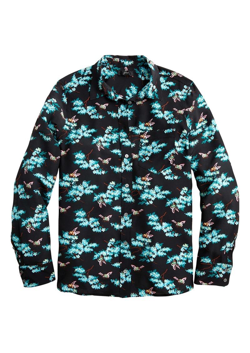J.Crew Classic Fit Botanical Bee Silk Boy Shirt