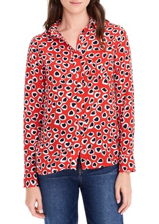 J.Crew Classic Fit Heart Print Silk Boy Shirt (Regular & Petite)