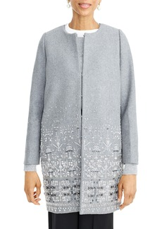 J.Crew Collection Embelllished Wool Melton Cocoon Coat