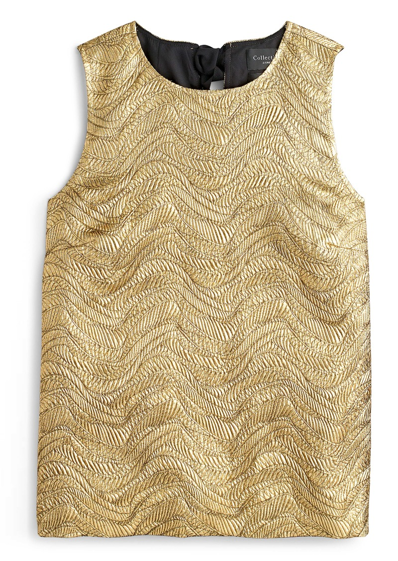 J.Crew Collection Metallic Leaf Jacquard Bow Back Top