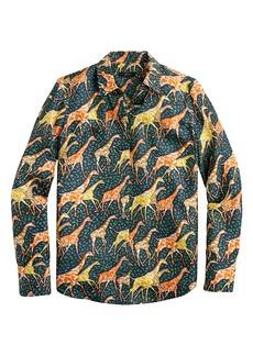J.Crew Collection Silk Twill Shirt in Giraffes