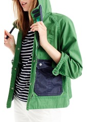 J.Crew Colorblock Waxed Cotton Hooded Jacket