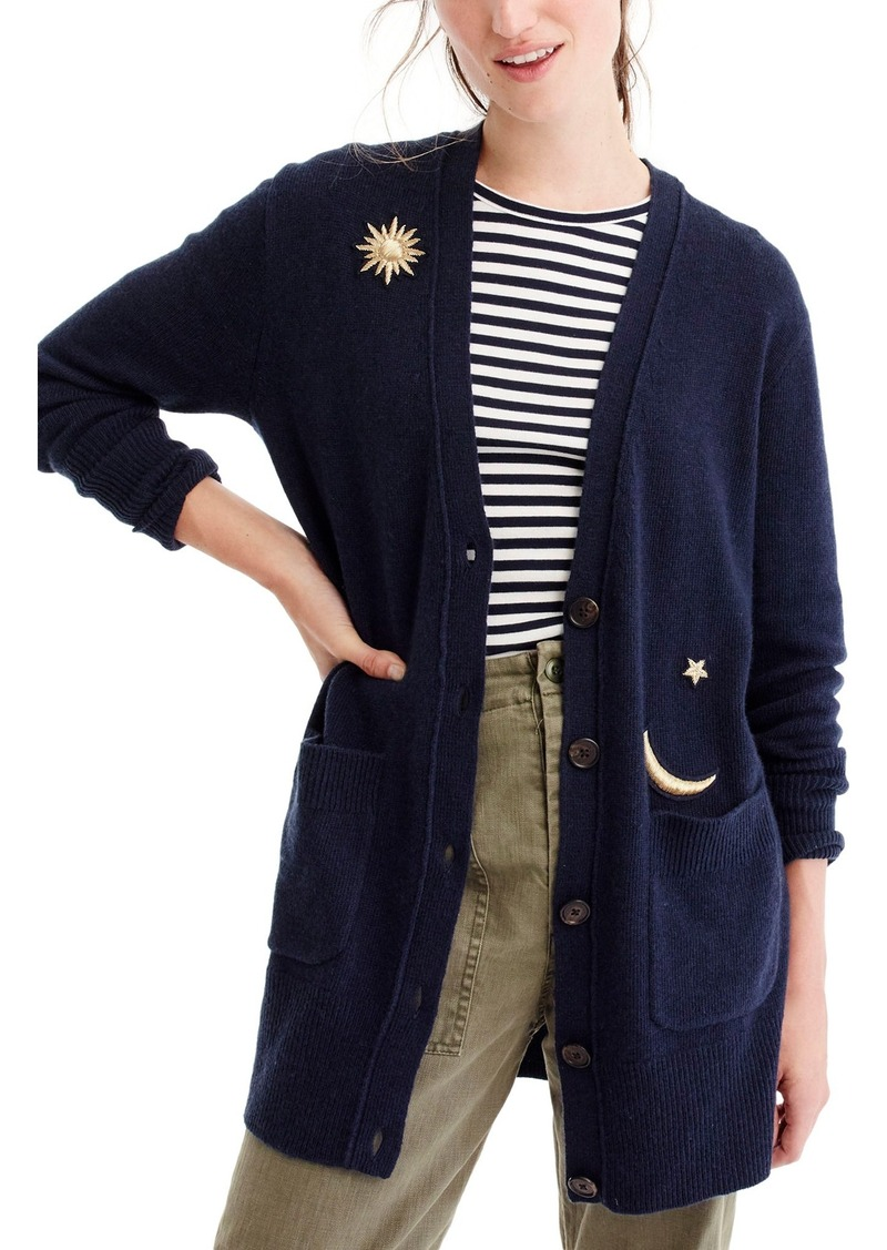 J.Crew Cosmic Embroidered Cardigan Sweater