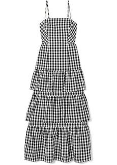 Dabble tiered gingham cotton-poplin midi dress