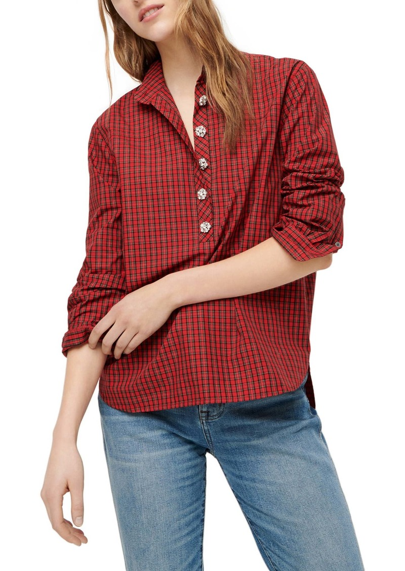 J.Crew Dabir Jeweled Button Plaid Popover Tunic