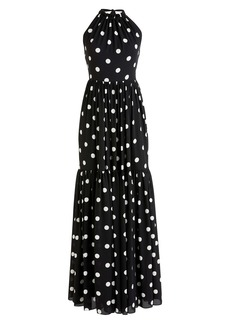 J.Crew Dot Halter Neck Tiered Maxi Dress