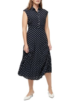J.Crew Dot Print Pleated Midi Shirtdress