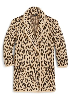J.Crew Double Breasted Leopard Sweater Coat