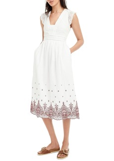 J.Crew Embroidered Flutter Sleeve Midi Dress