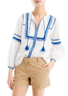 J.Crew Embroidered Linen & Cotton Top