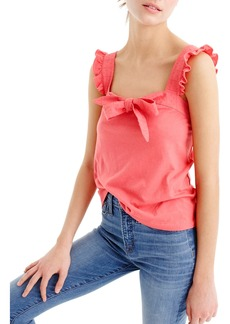J.Crew Embroidered Trim Bow Top