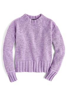 J.Crew Erica Heathered Cotton Wide Rib Crewneck Sweater