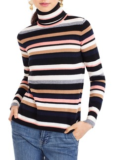 J.Crew Everyday Cashmere Stripe Turtleneck Sweater
