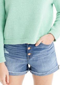 J.Crew Exposed Button High Waist Denim Shorts