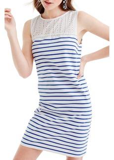 J.Crew Eyelet Yoke Striped Dress
