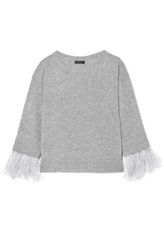 J.Crew Feather-trimmed wool-blend sweater