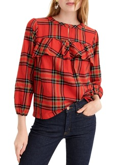 J.Crew Festive Plaid Ruffle Top (Regular & Petite)