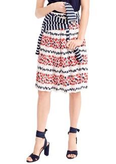 J.Crew Berry Print Pleat Skirt