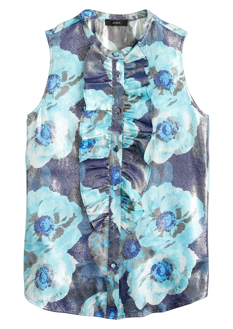 J.Crew Floral Print Jacquard Ruffle Front Top