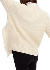 69f0195f0eb20b J.Crew J.Crew Fringe Detail Cable Knit Sweater | Sweaters