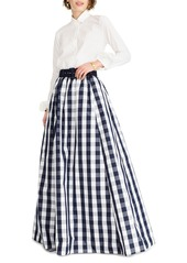 J.Crew Gingham Belted Taffeta Ball Skirt