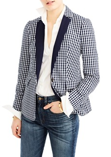 J.Crew Solid Lapel Puckered Gingham Blazer