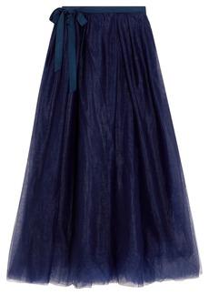 Grosgrain-trimmed tulle midi skirt