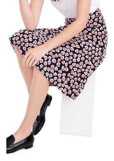 J.Crew Heart Print Crepe Skirt