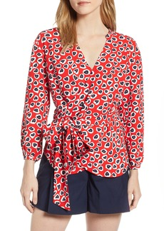 J.Crew Heart Print Wrap Top