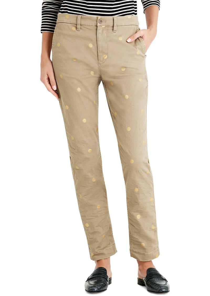 4124cb56dd9b J.Crew High Rise Slim Boy Chino Pants in Metallic Dot (Regular & Petite