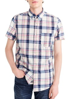 J.Crew Indigo Plaid Short Sleeve Madras Shirt