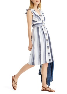 J.Crew Indigo Stripe Button Front Linen Midi Dress