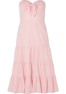Jackaroo strapless striped cotton-seersucker dress