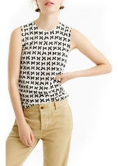 J.Crew Jackie Bow Print Lightweight Wool Shell