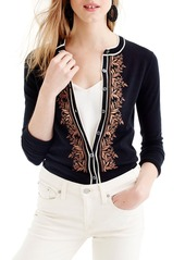 J.Crew Jackie Embroidered Cotton Blend Cardigan