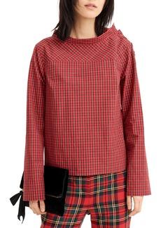 J.Crew Jewel Button Funnel Neck Plaid Shirt (Regular & Petite)