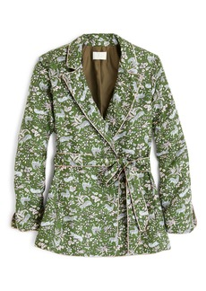 J.Crew Jungle Cat Silk Twill Wrap Blazer