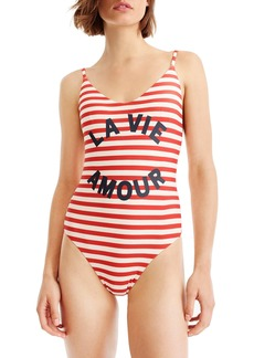 J.Crew La Vie Amour Stripe One-Piece Swimsuit