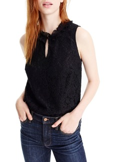 J.Crew Lace Ruffle Neck Top (Regular & Petite)