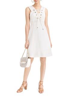 J.Crew Lace-Up Structured Linen Dress