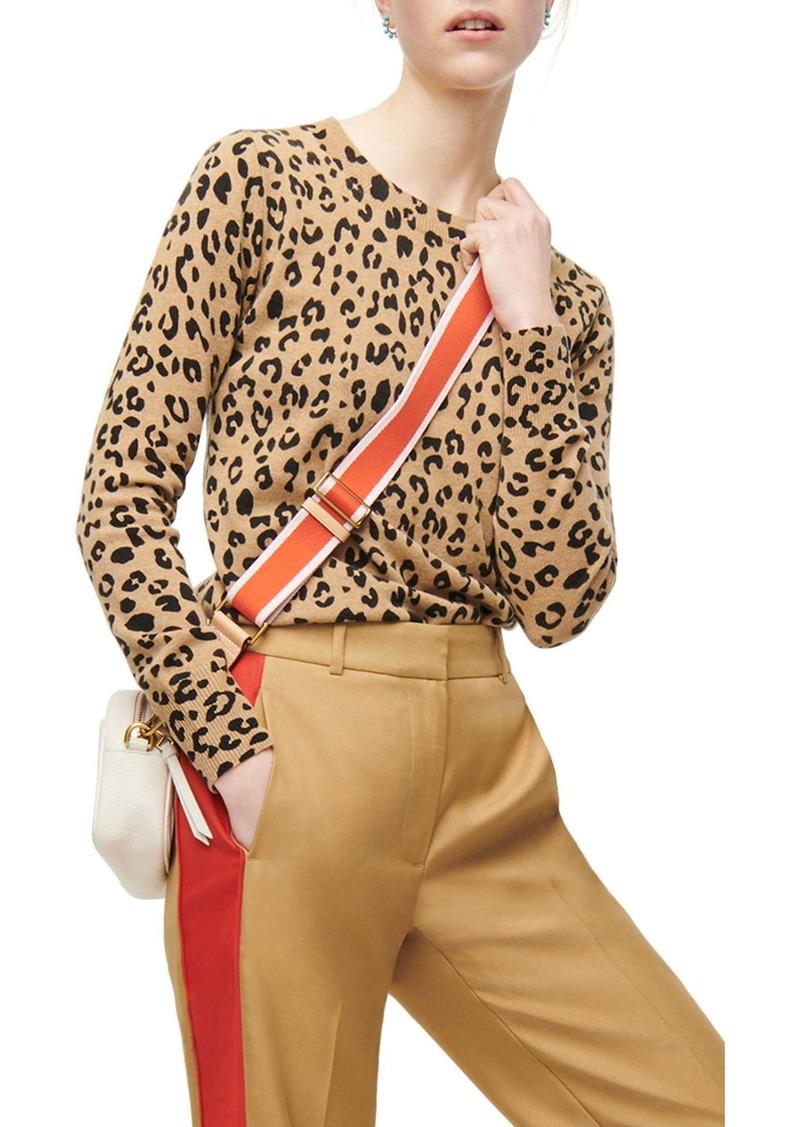 J.Crew Leopard Cashmere Crewneck Sweater