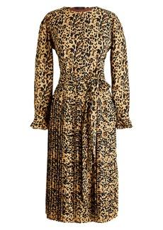 J.Crew Leopard Long Sleeve Pleated Dress