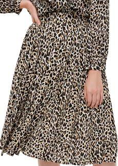 J.Crew Leopard Pleated Midi Skirt